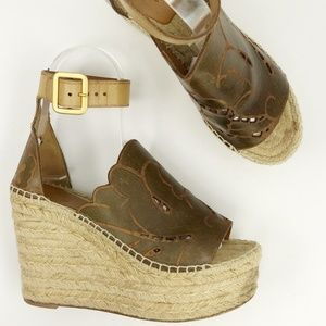 Chloe Ankle Wrap Platform Espadrille Wedge Sandals